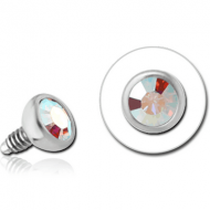 SURGICAL STEEL SWAROVSKI CRYSTAL JEWELLED BALL FOR 1.6MM INTERNALLY THREADED PIN PIERCING