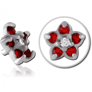 SURGICAL STEEL JEWELLED ATTACHMENT FOR 1.6MM INTERNALLY THREADED PINS - FLOWER PIERCING