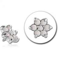 SURGICAL STEEL SYNTHETIC OPAL JEWELED FLOWER ATTACHMENT FOR 1.6MM INTERNALLY THREADED PINS PIERCING