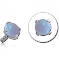 SURGICAL STEEL ROUND PRONG SET SYNTHETIC OPAL FOR 1.2MM INTERNALLY THREADED PINS PIERCING