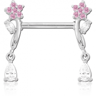 SURGICAL STEEL NIPPLE PIERCING INTERNAL THREADED BAR WITH MOVING CHARM FINE JEWELLED PIERCING
