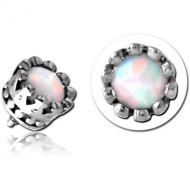 SURGICAL STEEL SYNTHETIC OPAL JEWELLED MICRO ATTACHMENT FOR 1.2MM INTERNALLY THREADED PINS - CROWN PIERCING