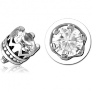 SURGICAL STEEL JEWELLED MICRO ATTACHMENT FOR 1.2MM INTERNALLY THREADED PINS - CROWN PIERCING