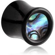 ORGANIC HORN PLUG DOUBLE FLARED WITH INLAY - PAUA SHELL PIERCING