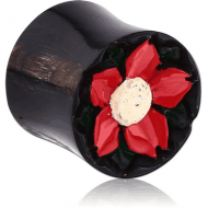 ORGANIC CARVED HORN HOLLOW PLUG DOUBLE FLARE - RED FLOWER PIERCING