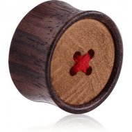 ORGANIC WOODEN PLUG BLACK -SONO DOUBLE FLARED WITH TEAK WOOD BUTTON PIERCING