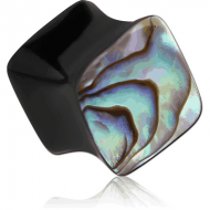 ORGANIC HORN PLUG DOUBLE FLARED SQUARE WITH INLAY - PAUA SHELL PIERCING