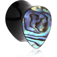 ORGANIC HORN PLUG DOUBLE FLARED TEAR DROP WITH INLAY - SHELL PIERCING