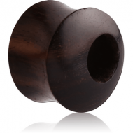ORGANIC WOODEN TUNNEL DOUBLE FLARED - BLACK -SONO - OFF CENTER PIERCING