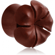 ORGANIC WOODEN PLUG -SAWO DOUBLE FLARED CARVED FLOWER PIERCING