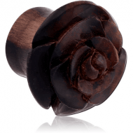 IRON WOOD CARVED FLOWER DOUBLE FLARED PLUG PIERCING