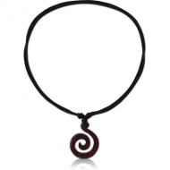 ORGANIC WOODEN PENDANT BLACK -SONO WITH LEATHER STRING