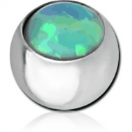 SURGICAL STEEL JEWELLED MICRO BALL WITH SYNTHETIC OPAL PIERCING