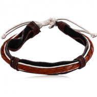 BRACELET FULL LEATHER 1 CM AND 2 MM NATURAL COLOURS COMBINATION