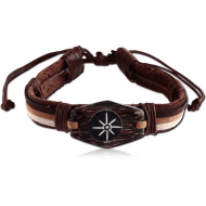 BRACELET LEATHER 1CM WITH PAINTED WOOD NATURAL COLOURS COMBINATION
