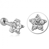 SURGICAL STEEL JEWELED TRAGUS MICRO BARBELL PIERCING