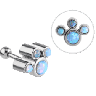 SURGICAL STEEL OPAL JEWELEDTRAGUS BARBELL PIERCING