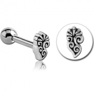 SURGICAL STEEL TRAGUS MICRO BARBELL - FILIGREE PIERCING