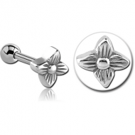 SURGICAL STEEL TRAGUS MICRO BARBELL - FLOWER PIERCING