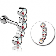 SURGICAL STEEL 5 JEWELS TRAGUS MICRO BARBELL PIERCING