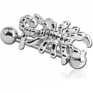 SURGICAL STEEL MICRO BARBELL WITH SHIELD - SCORPION PIERCING