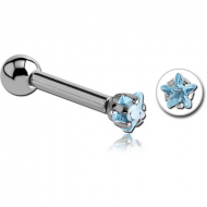 SURGICAL STEEL STAR PRONG SET JEWELLED TRAGUS MICRO BARBELL PIERCING