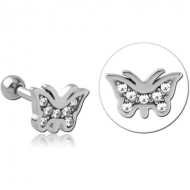 SURGICAL STEEL JEWELLED TRAGUS MICRO BARBELL - BUTTERFLY