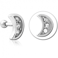 SURGICAL STEEL JEWELLED TRAGUS MICRO BARBELL - CRESCENT PIERCING