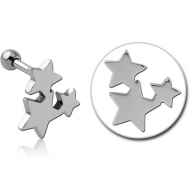 SURGICAL STEEL TRAGUS MICRO BARBELL - STARS PIERCING