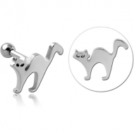 SURGICAL STEEL TRAGUS MICRO BARBELL - CAT PIERCING