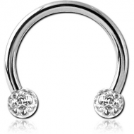 SURGICAL STEEL MICRO CIRCULAR BARBELL WITH EPOXY COATED CRYSTALINE JEWELLED BALLS