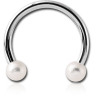 SURGICAL STEEL MICRO CIRCULAR BARBELL WITH SYNTHETIC PEARLS PIERCING