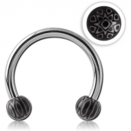 SURGICAL STEEL MICRO CIRCULAR BARBELL WITH UV ACRYLIC FANCY BALLS PIERCING