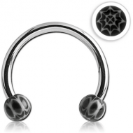 SURGICAL STEEL MICRO CIRCULAR BARBELL WITH UV ACRYLIC WEB BALLS PIERCING