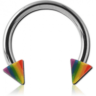 SURGICAL STEEL MICRO CIRCULAR BARBELL WITH UV ACRYLIC RAINBOW CONES PIERCING