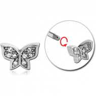 SURGICAL STEEL MICRO THREADED JEWELLED BUTTERFLY ATTACHMENT PIERCING