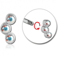 SURGICAL STEEL MICRO THREADED TRIPLE JEWELLED ATTACHMENT PIERCING