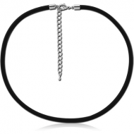 RUBBER NECKLACE WITH STAINLESS STEEL LOCKER AND EXTENSION CHAIN