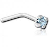 SILVER PRONG SET JEWELED 90 DEGREE NOSE STUD