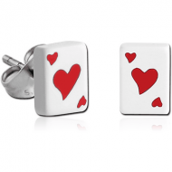 PAIR OF ACRYLIC PLAYING CARDS EAR STUDS - HEART