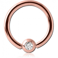 ROSE GOLD PVD COATED SURGICAL STEEL SWAROVSKI CRYSTAL JEWELLED BALL CLOSURE RING PIERCING