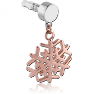 UV ACRYLIC MOBIE PHONE PLUG WITH ROSE GOLD PVD COATED BRASS CHARM - SNOWFLAKE