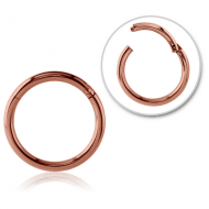 ROSE GOLD PVD COATED SURGICAL STEEL HINGED SEGMENT RING PIERCING