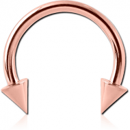 ROSE GOLD PVD COATED SURGICAL STEEL MICRO CIRCULAR BARBELL WITH CONES