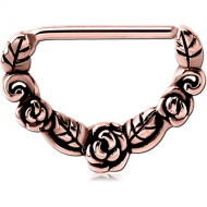 ROSE GOLD PVD COATED SURGICAL STEEL NIPPLE CLICKER - ROSES