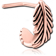 ROSE GOLD PVD COATED SURGICAL STEEL 90 DEGREE WRAP AROUND NOSE STUD - FEATHER PIERCING