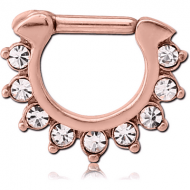 ROSE GOLD PVD COATED SURGICAL STEEL ROUND JEWELLED HINGED SEPTUM CLICKER PIERCING