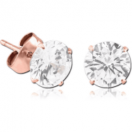 ROSE GOLD PVD COATED SURGICAL STEEL ROUND PRONG SET JEWELLED EAR STUDS PAIR