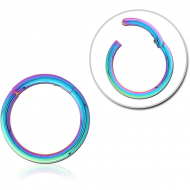 RAINBOW PVD COATED SURGICAL STEEL HINGED SEGMENT RING PIERCING