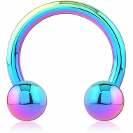RAINBOW PVD COATED SURGICAL STEEL CIRCULAR BARBELL PIERCING